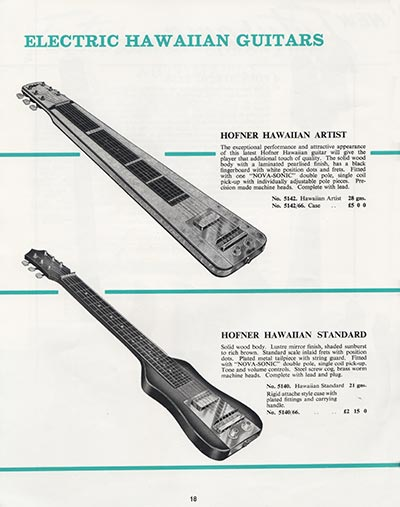 1964 Selmer guitar and bass catalogue page 18