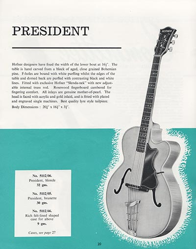 1964 Selmer guitar and bass catalogue page 20