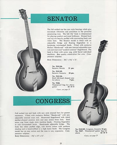 1964 Selmer guitar and bass catalogue page 21