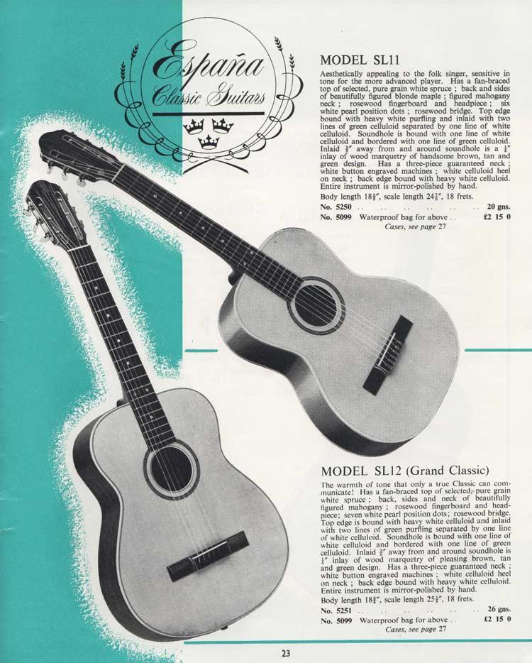 1964 Selmer Catalogue page 23 - Espana SL11 and SL12