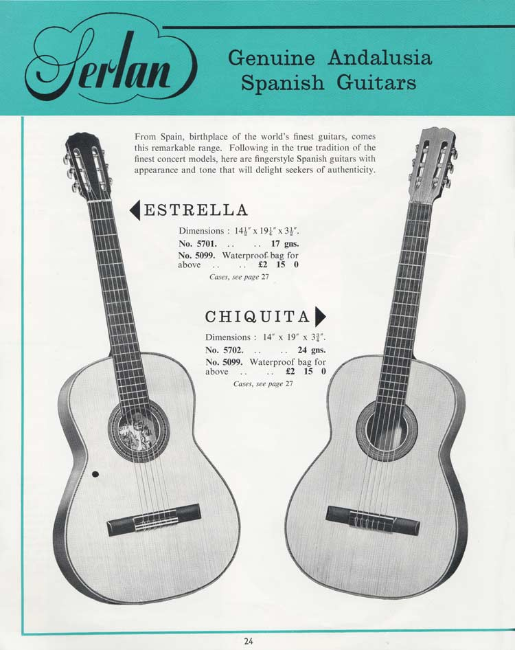1964 Selmer Catalogue page 24 - Serlan Estrella and Chiquita Spanish guitars