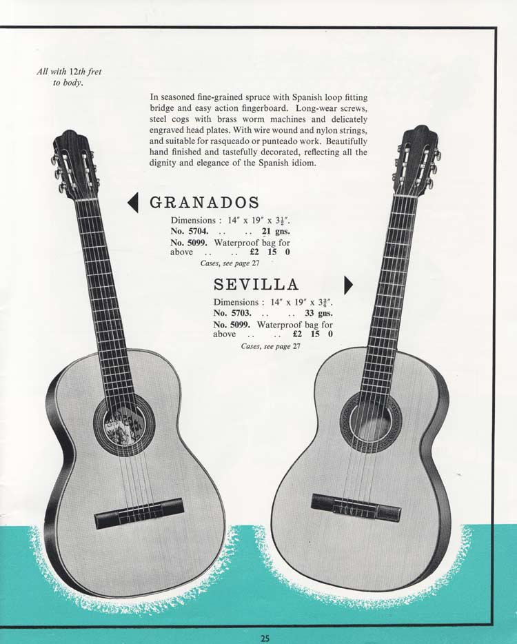 1964 Selmer Catalogue page 25 - Serlan Granados and Sevilla Spanish guitars