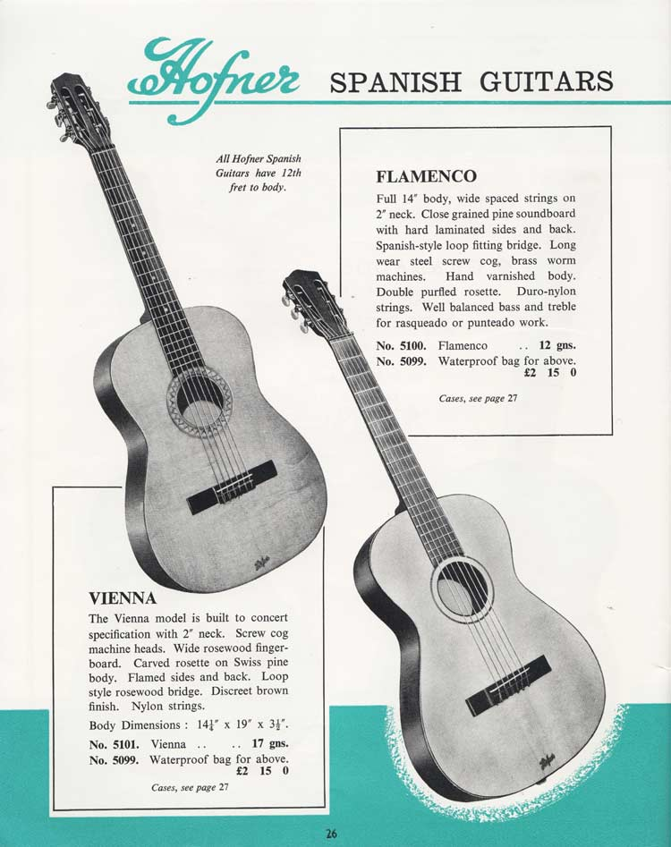 1964 Selmer Catalogue page 26 - Hofner Vienna and Flamenco Spanish guitars