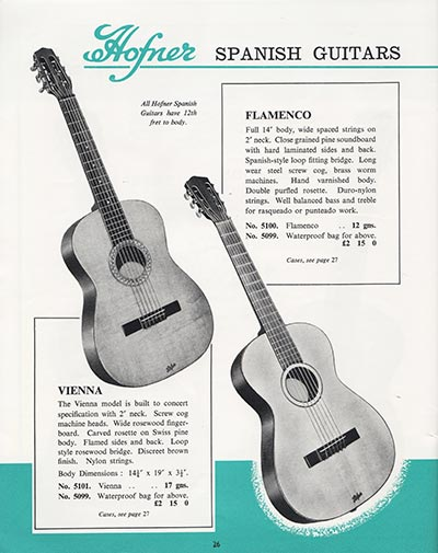 1964 Selmer guitar and bass catalogue page 26