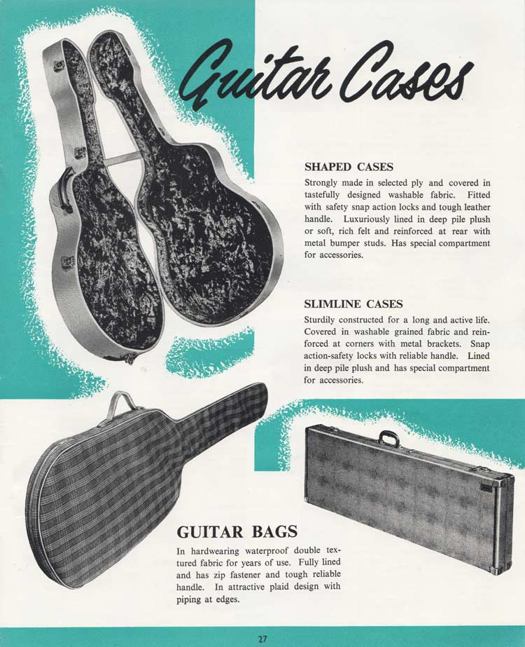 1964 Selmer Catalogue page 27 - Selmer guitar cases