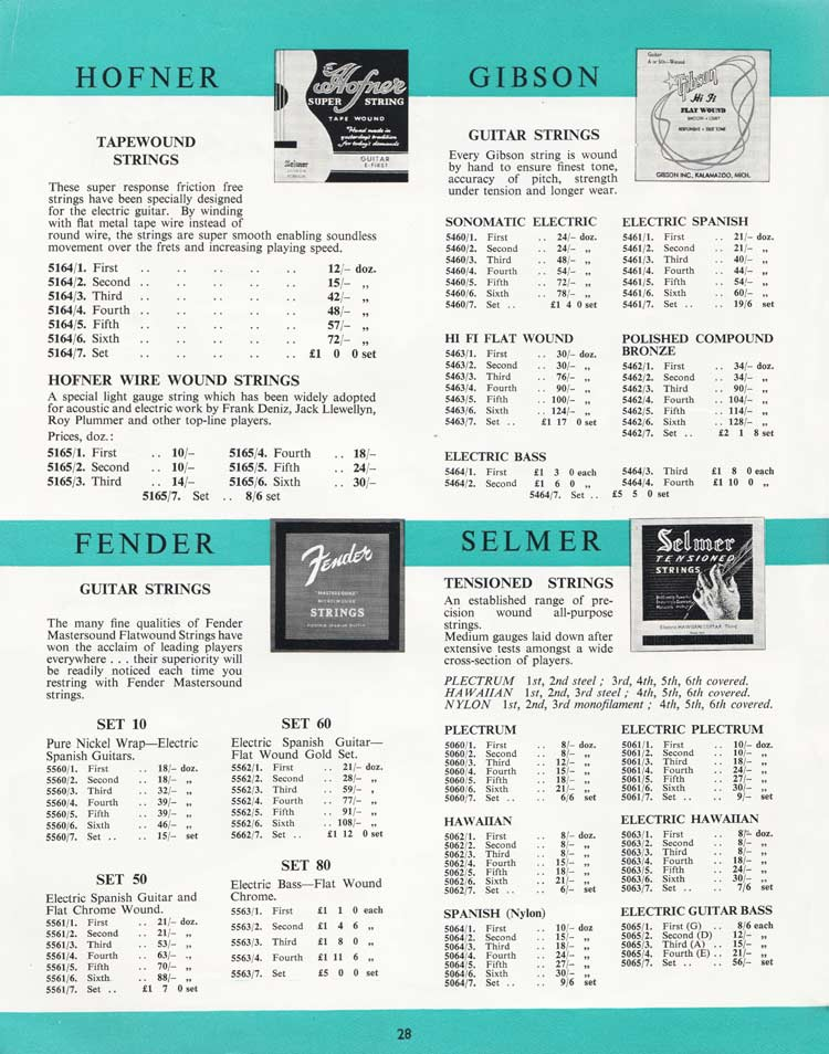 1964 Selmer Catalogue page 28 - Hofner, Gibson, Fender and Selmer guitar strings