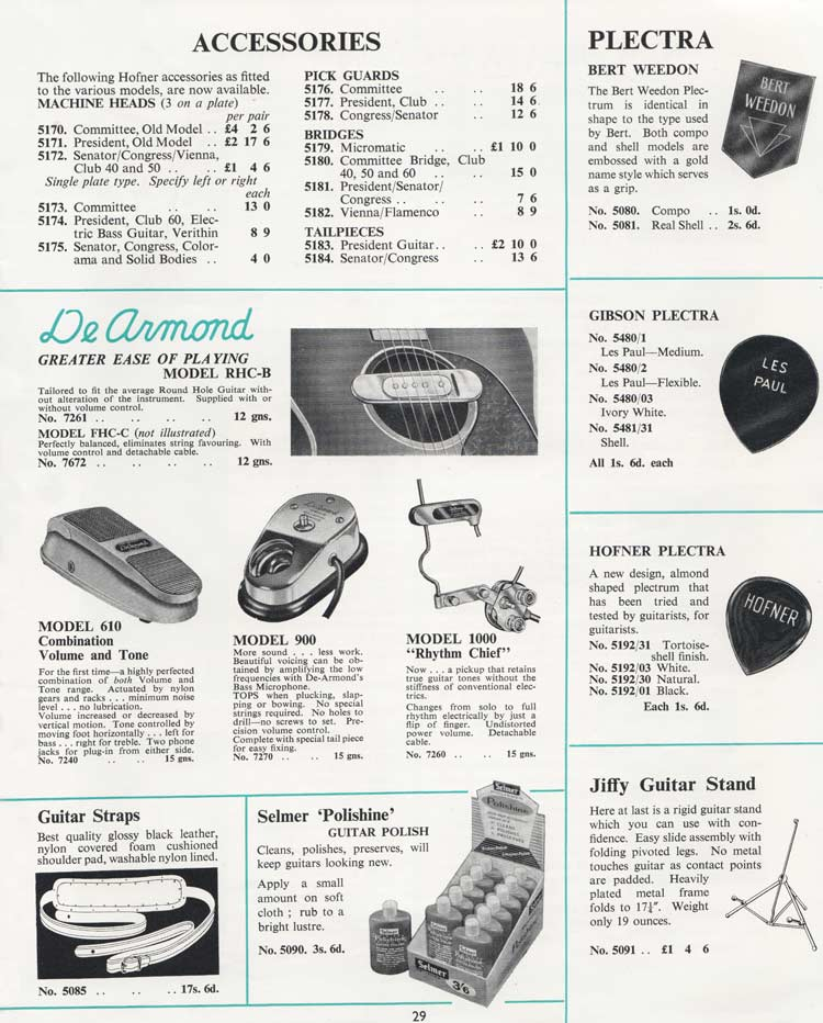 1964 Selmer Catalogue page 29 - spare parts and accessories