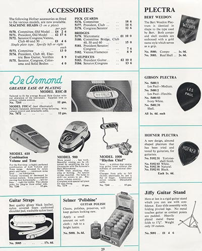 1964 Selmer guitar and bass catalogue page 29
