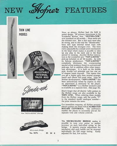 1964 Selmer guitar and bass catalogue page 2