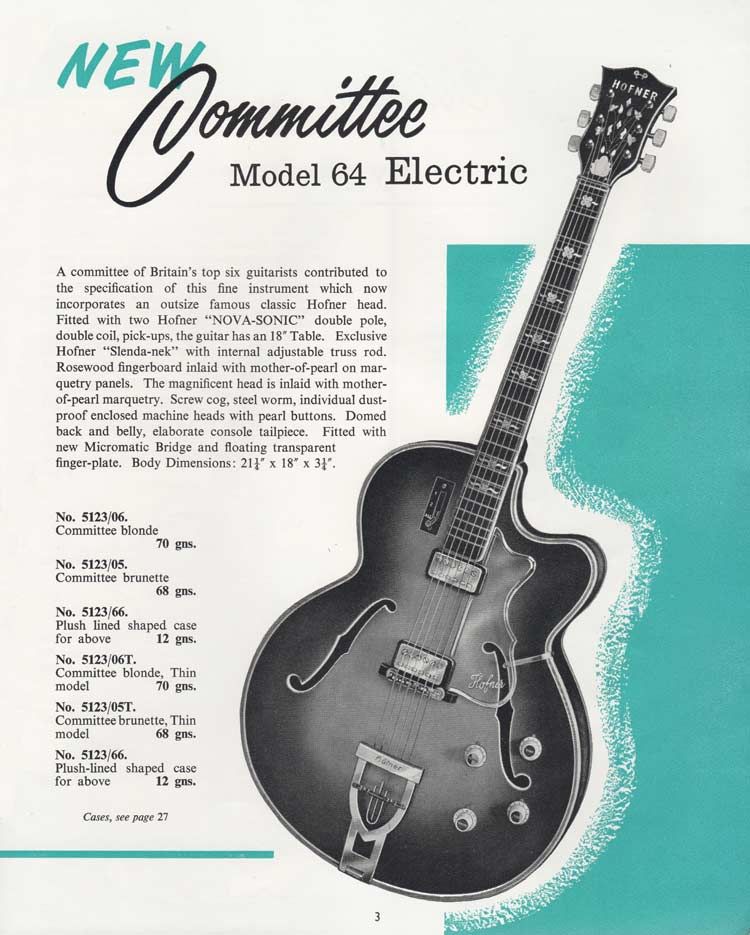 Hofner Committee - 1964 Selmer Catalogue page 3