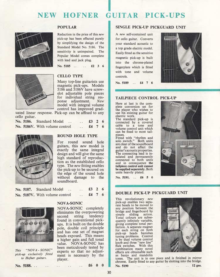 1964 Selmer Catalogue page 30 - Hofner pickups