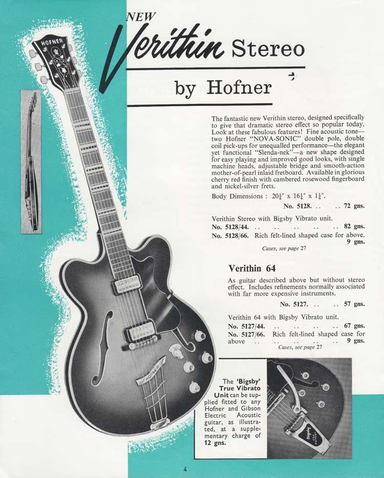 Hofner Verithin - 1964 Selmer Catalogue page 4
