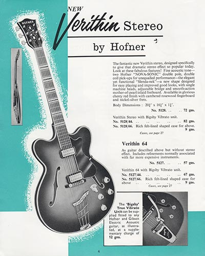 1964 Selmer guitar and bass catalogue page 4