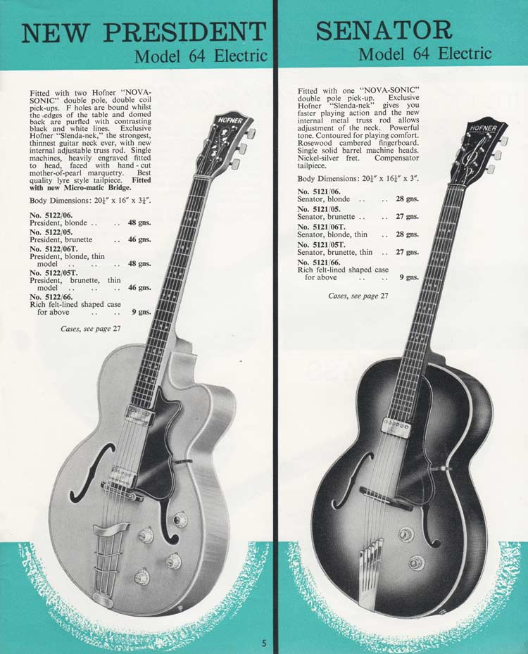 1964 Selmer Catalogue page 5 - Hofner President and Hofner Senator