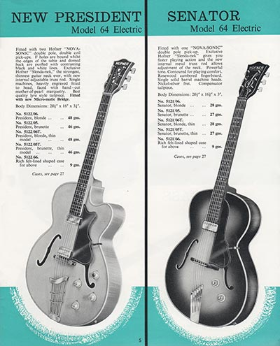 1964 Selmer guitar and bass catalogue page 5