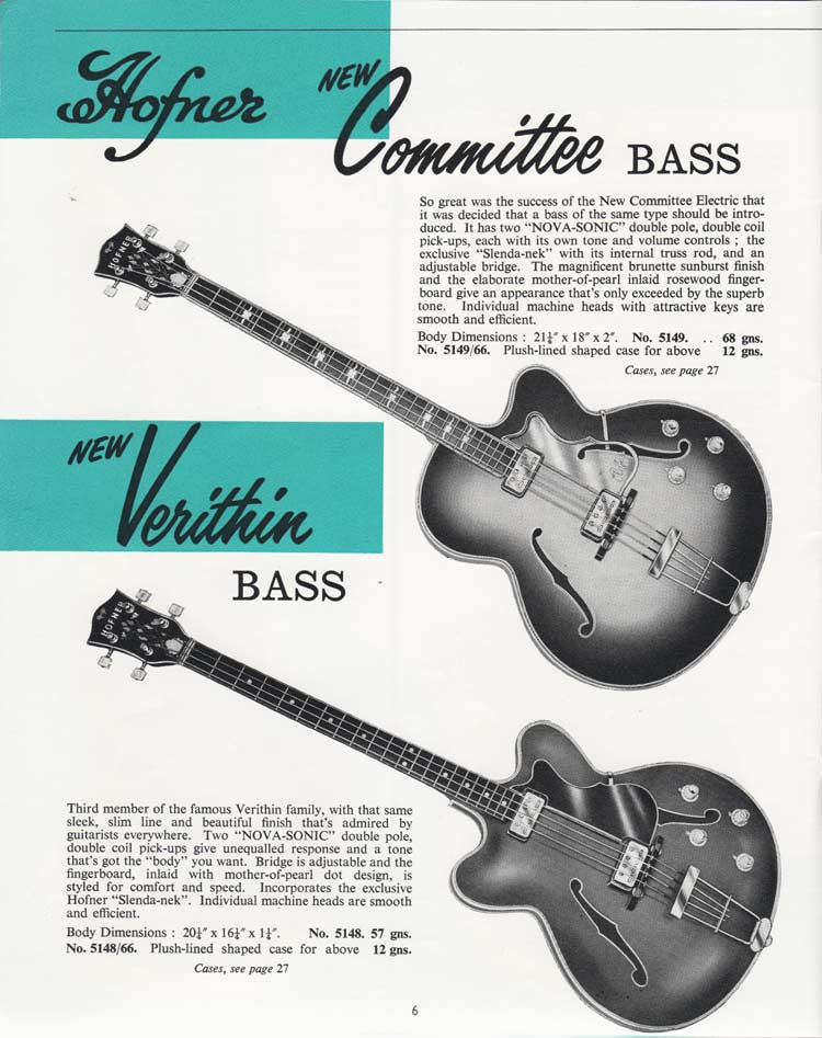 1964 Selmer Catalogue page 6 - Hofner Committee and Verithin bass guitars