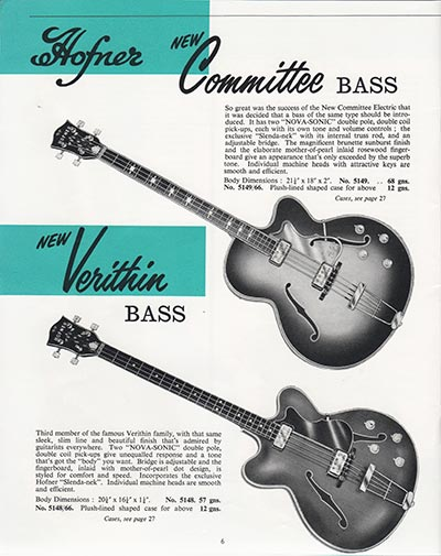 1964 Selmer guitar and bass catalogue page 6