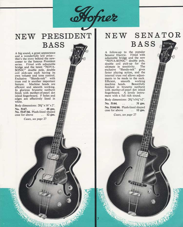 1964 Selmer Catalogue page 7 - Hofner Senator bass and President bass