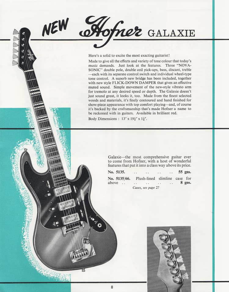 1964 Selmer Catalogue page 8 - Hofner Galaxie