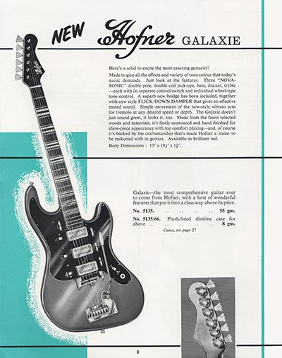 1964 Selmer guitar and bass catalogue page 8