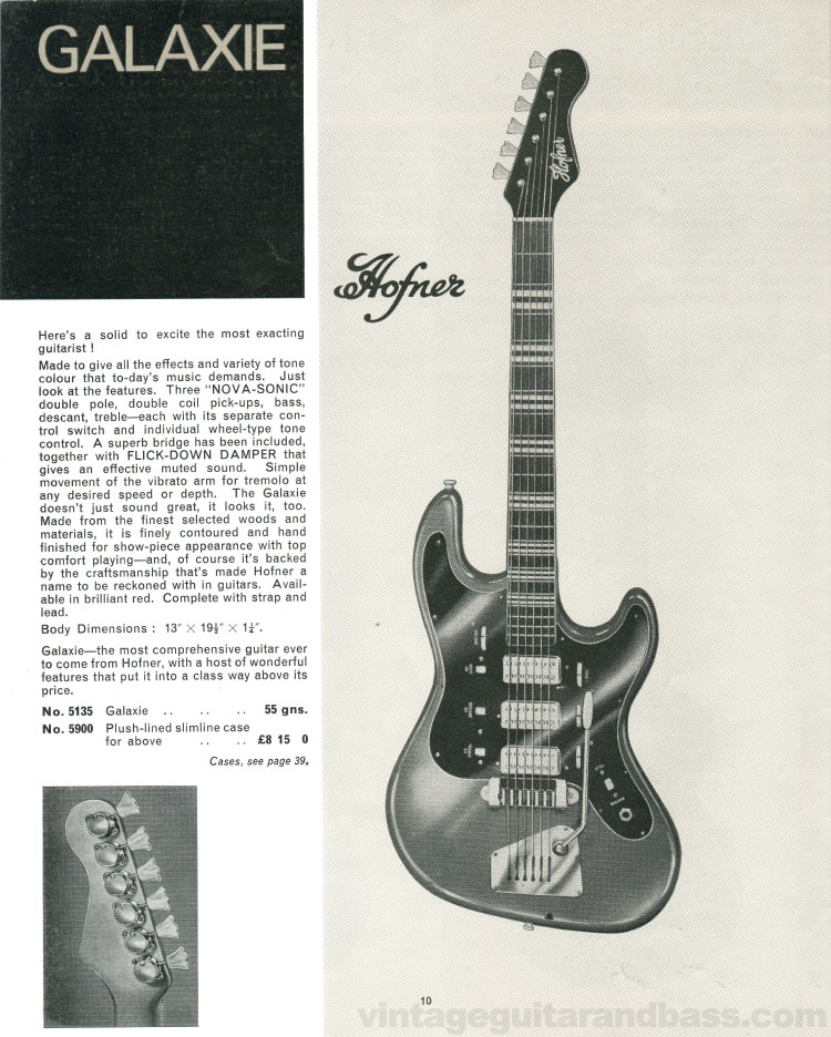 1966 Selmer Catalogue page 10, Hofner Galaxie solid body electric