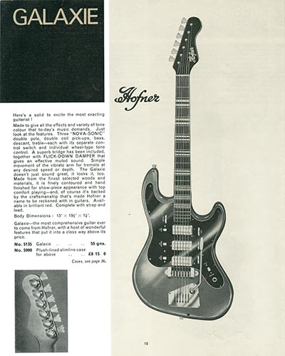 1966 Selmer guitar and bass catalogue page 10 - Hofner Galaxie solid body electric