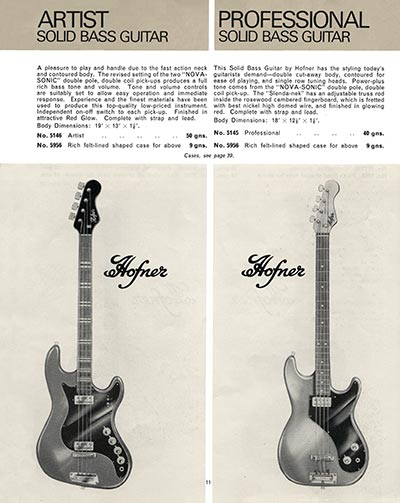 1966 Selmer guitar and bass catalogue page 11 -  Hofner Artist bass and Professional bass