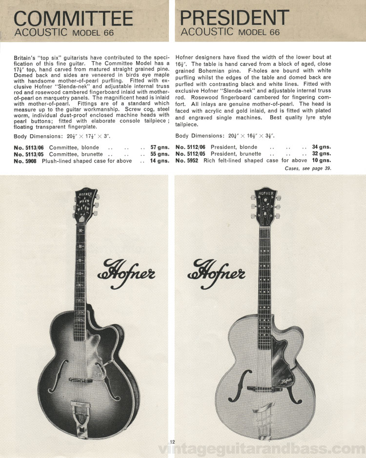 1966 Selmer Catalogue page 12, Hofner Committee and President acoustic guitars