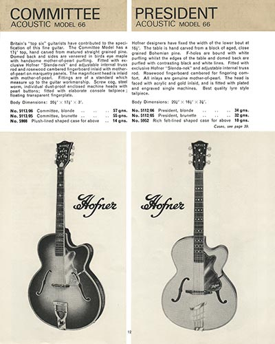 1966 Selmer guitar and bass catalogue page 12