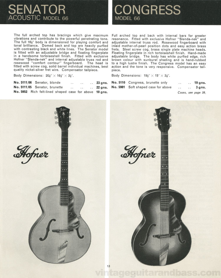 1966 Selmer Catalogue page 13, Hofner Senator and Congress acoustic guitars