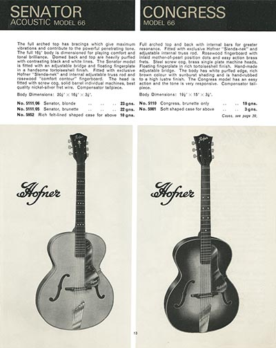 1966 Selmer guitar and bass catalogue page 13