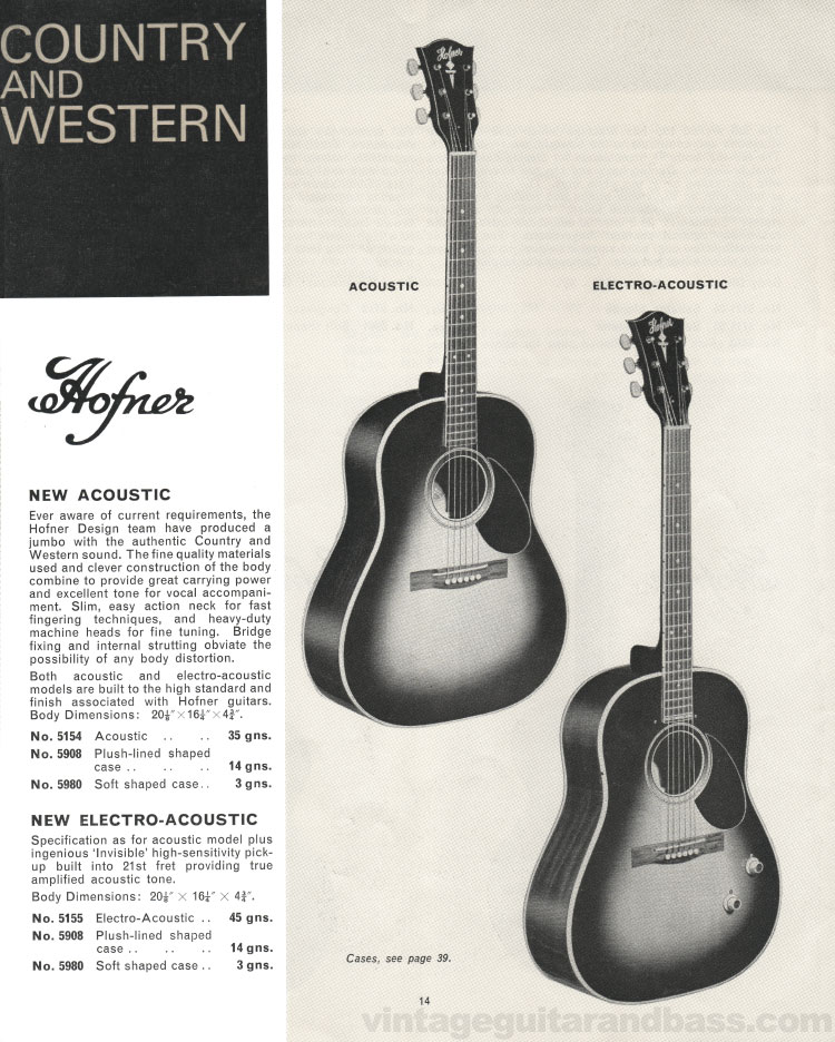 1966 Selmer Catalogue page 14, Hofner Acoustic and Electro-Acoustic guitars
