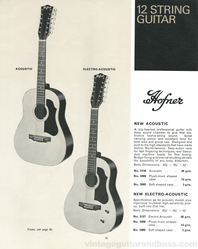 1966 Selmer Catalogue page 15, Hofner Committee and President acoustic guitars