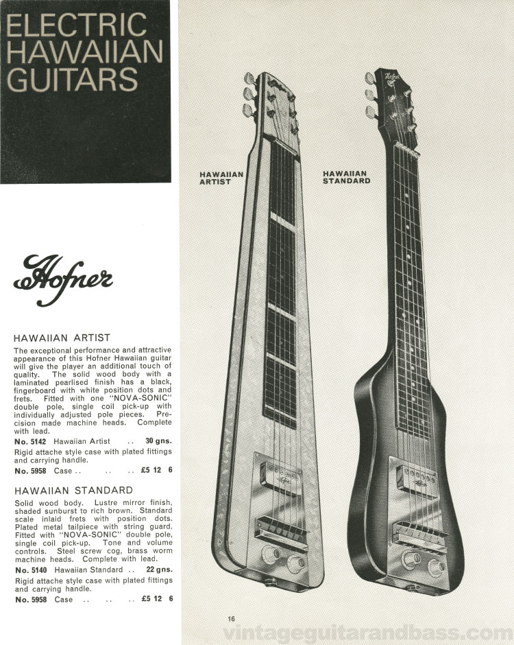1966 Selmer Catalogue page 16, Hofner Committee and President acoustic guitars