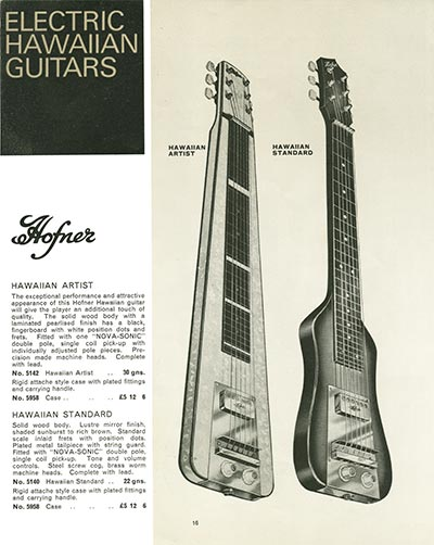 1966 Selmer guitar and bass catalogue page 16