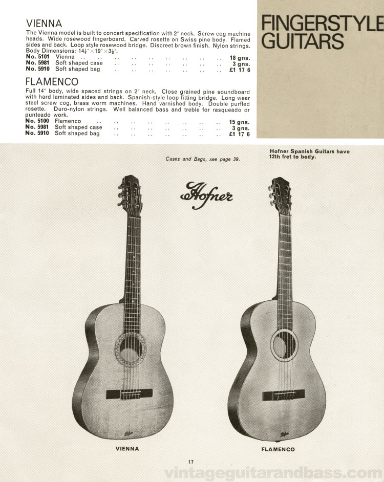 1966 Selmer Catalogue page 16, Hofner Vienna and Flamenco fingerstyle acoustic guitars