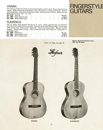 1966 Selmer guitar and bass catalogue page 17