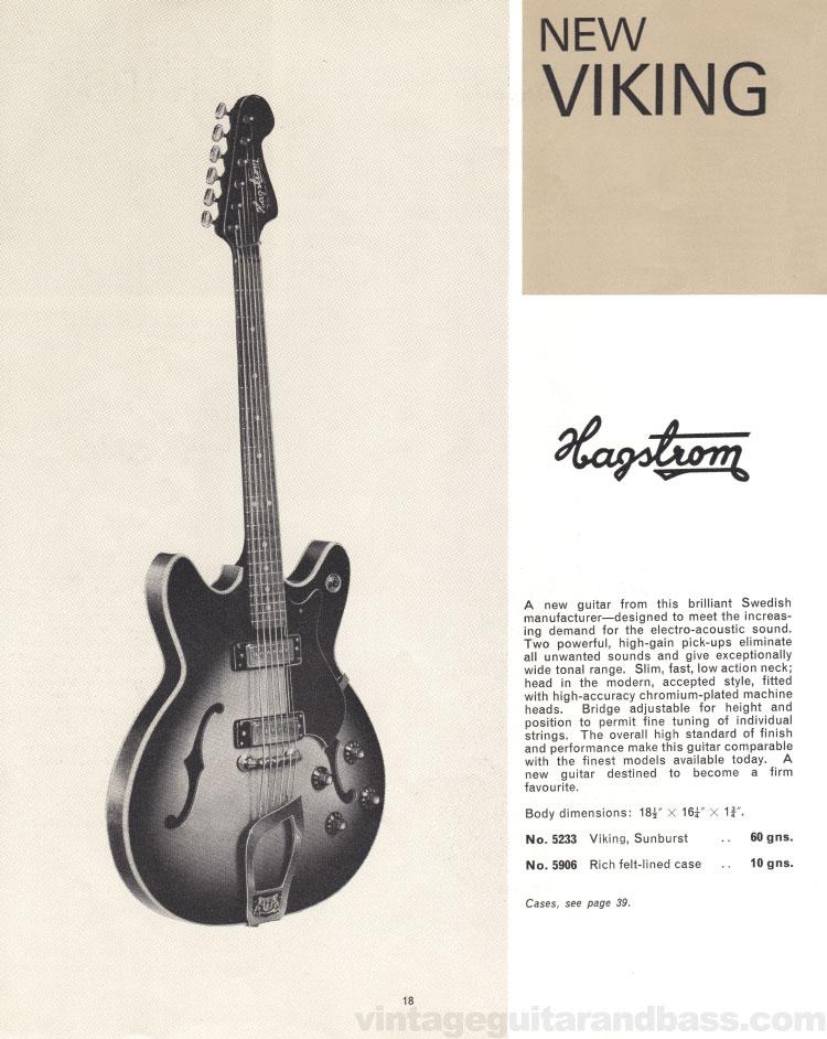 1966 Selmer Catalogue page 18, Hagstrom Viking