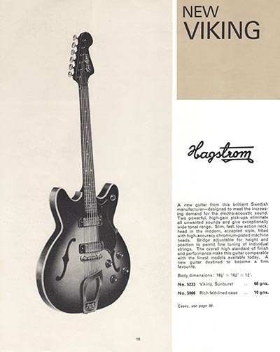 1966 Selmer guitar and bass catalogue page 18 - Hagstrom Viking semi-acoustic guitar