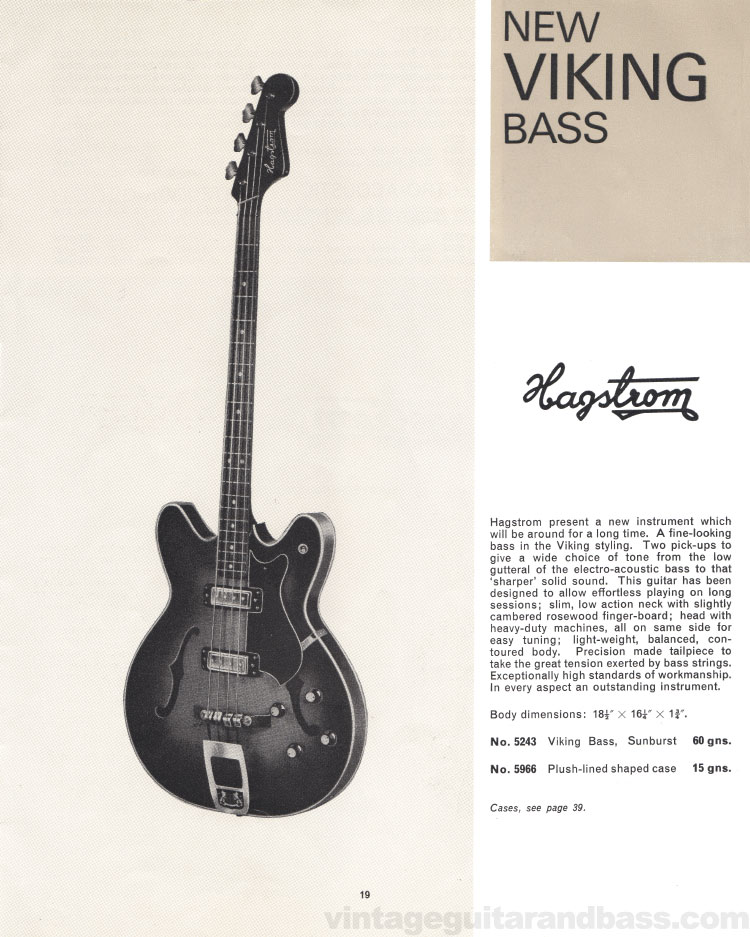 1966 selmer guitar catalogue page 19 hagstrom viking bass. Black Bedroom Furniture Sets. Home Design Ideas