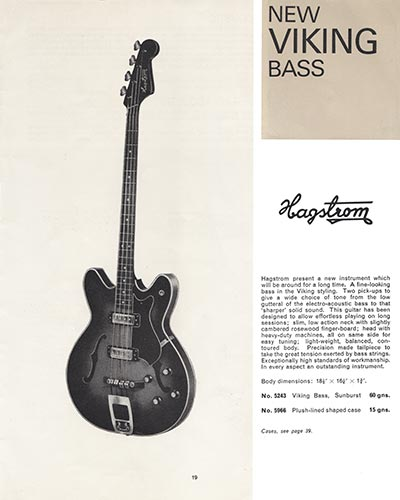 1966 Selmer guitar and bass catalogue page 19 - Hagstrom Viking semi-acoustic bass