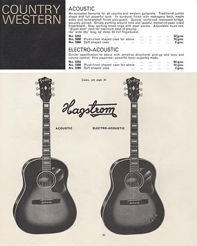 1966 Selmer guitar and bass catalogue page 20 - Hagstrom Acoustic and Electro-Acoustic
