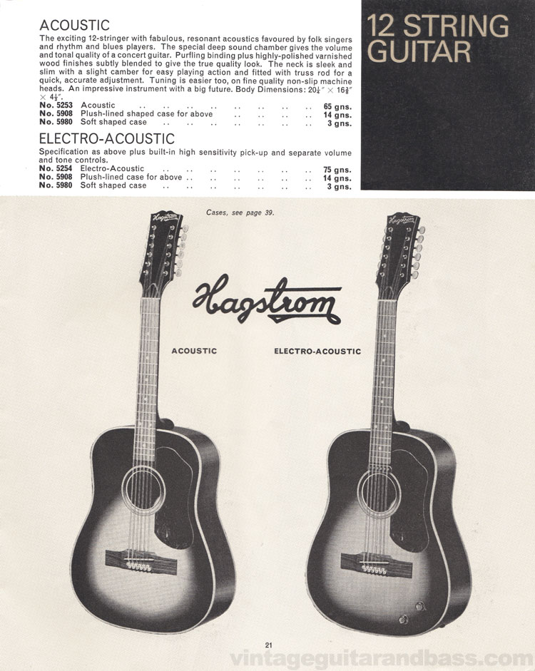 1966 Selmer Catalogue page 21, Hagstrom Acoustic 12-string and Electro-Acoustic 12-string