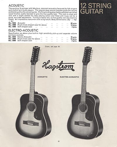1966 Selmer guitar and bass catalogue page 21 - Hagstrom Acoustic and Electro-Acoustic 12-string guitars