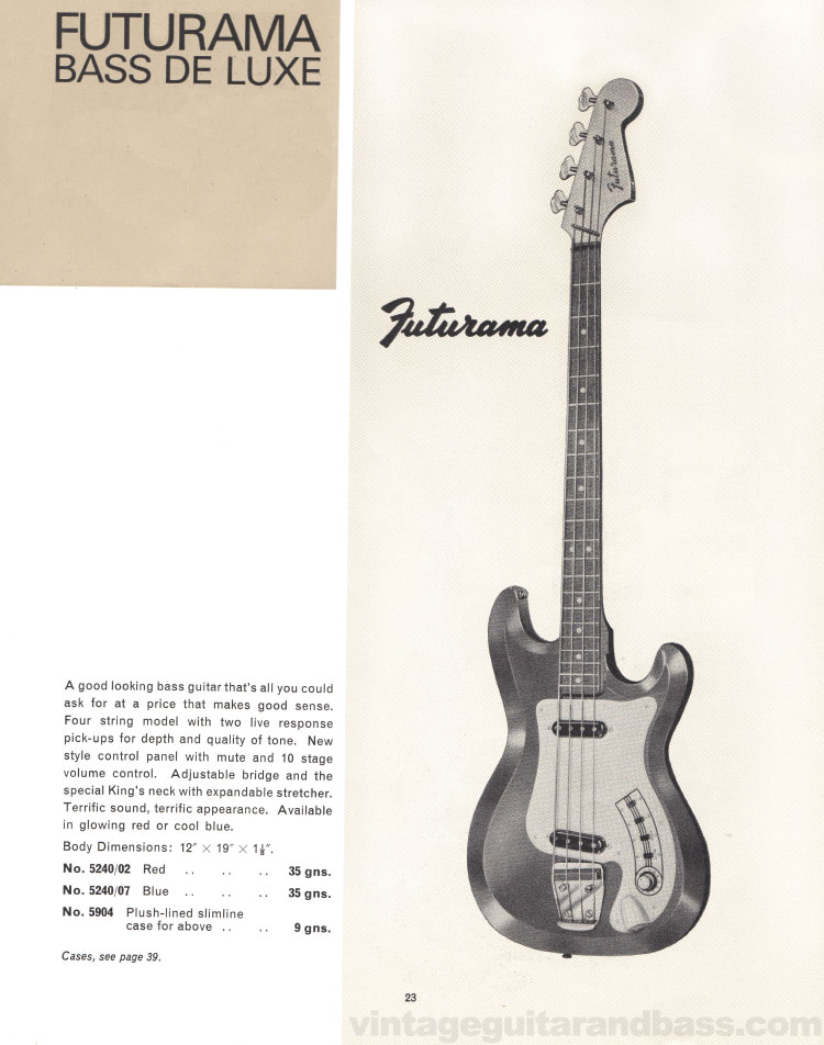 1966 Selmer Catalogue page 23, Futurama Bass De Luxe bass guitar