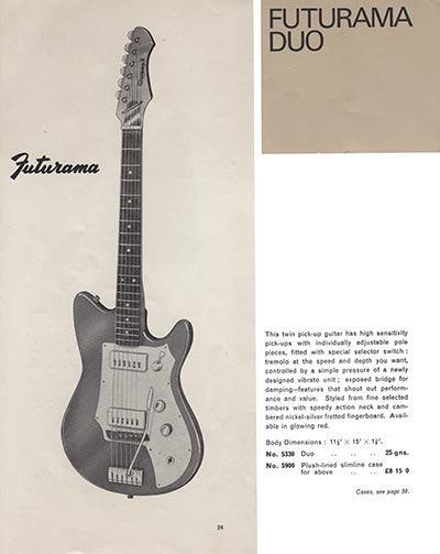 1966 Selmer guitar and bass catalogue page 24 - Futurama Duo