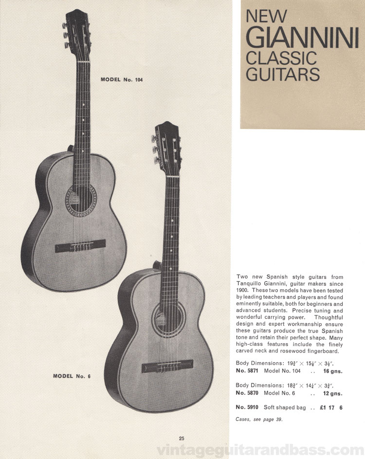 1966 Selmer Catalogue page 25, Giannini Models 6 and 104