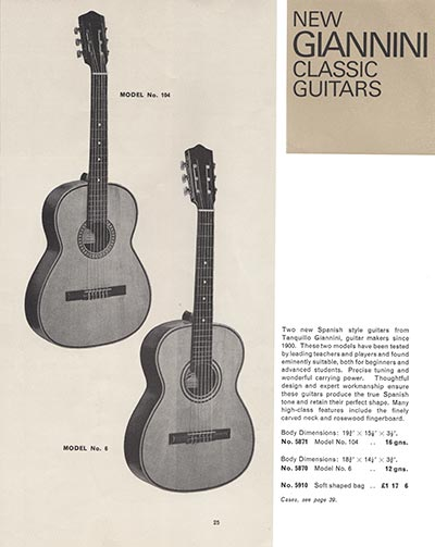 1966 Selmer guitar and bass catalogue page 25 - Giannini acoustic guitars, models 6 and 104