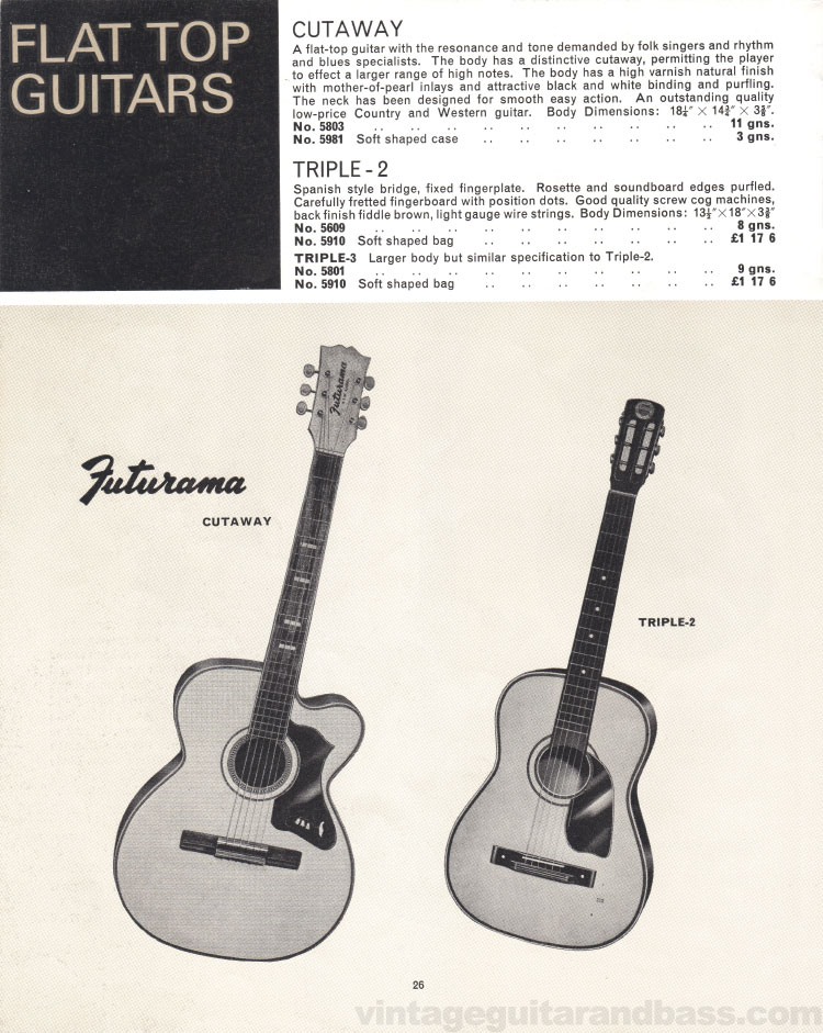 1966 Selmer Catalogue page 26, Futurama Cutaway, Selmer Triple-2 and Triple-3 flat top acoustic guitars