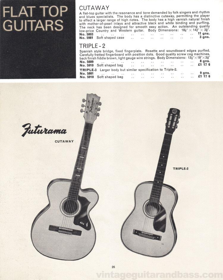 1966 Selmer Catalogue page 26, Futurama Cutaway, Selmer Triple-2 and Triple-3 flat top acoustic guitars